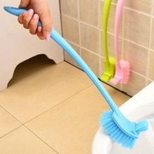 Cleaning Blue Double Side Curved Pink Green Plastic Brush Toilet Brush Toilet Bathroom Long Handle wc brush toiletborstel стоимость