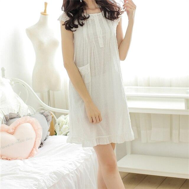 New Arrivals Sleeveless Nightgowns Sexy Home Dress Cotton Nightwear Elegant Night Wear Sleep Wear Vintage Nightgown Female #HH49