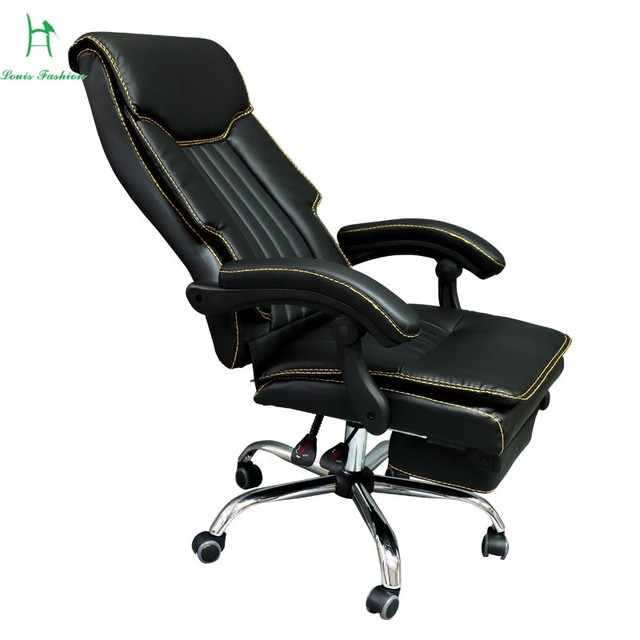 Luxury Boss Chair Home Flat Bench Chair Lengthened Foot Office Leather Chair