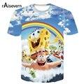 Raisevern Novo Dos Desenhos Animados 3D T Camisa Patrick E Bob Esponja T-shirt da Camisa Tops Casual Estilo 3D Camisetas Camisetas Tops Plus Size