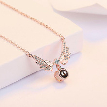 Hot Charm 925 Silver Necklace Girl Jewelry Crystal 100 languages I love you Projection Wing For Women Girlfriend Gifts