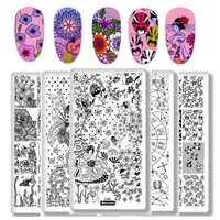 1 piezas del rectángulo estampado plantilla cuentos de hadas constelación arte de uñas placa de imagen de Geisha japonesa cachorro manicura plantilla herramientas