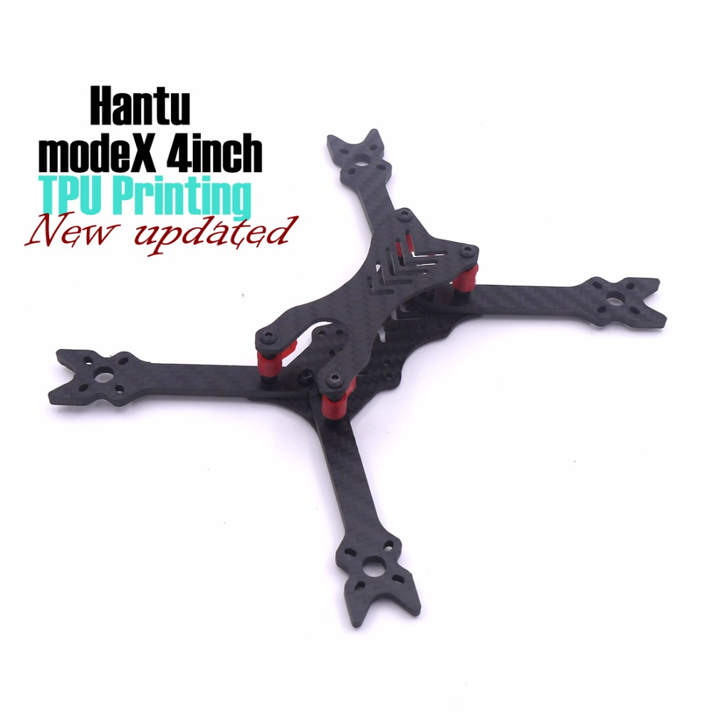 modeX HANTU 4 Inch 190mm 190 pure carbon fiber frame kit with 4mm arm TPU 3D printing for FPV RC cross racing drone quadcopter цена