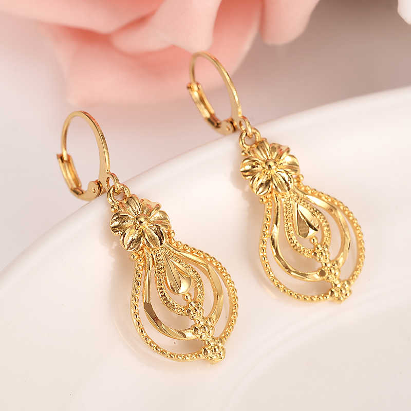 gold flower drop earring Ethiopian/Nigeria/Kenya /Ghana  Gold  Dubai India african Arab Middle Eastern Jewelry Mom girl  Gifts