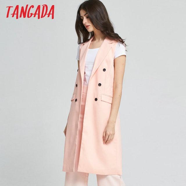 510014bc21ce9 Tangada Office Long Vests Of Women waistcoat Sleeveless blazer Vest Famale  Pink Cardigan Long Jacket Coat Outwear 2017 YD1