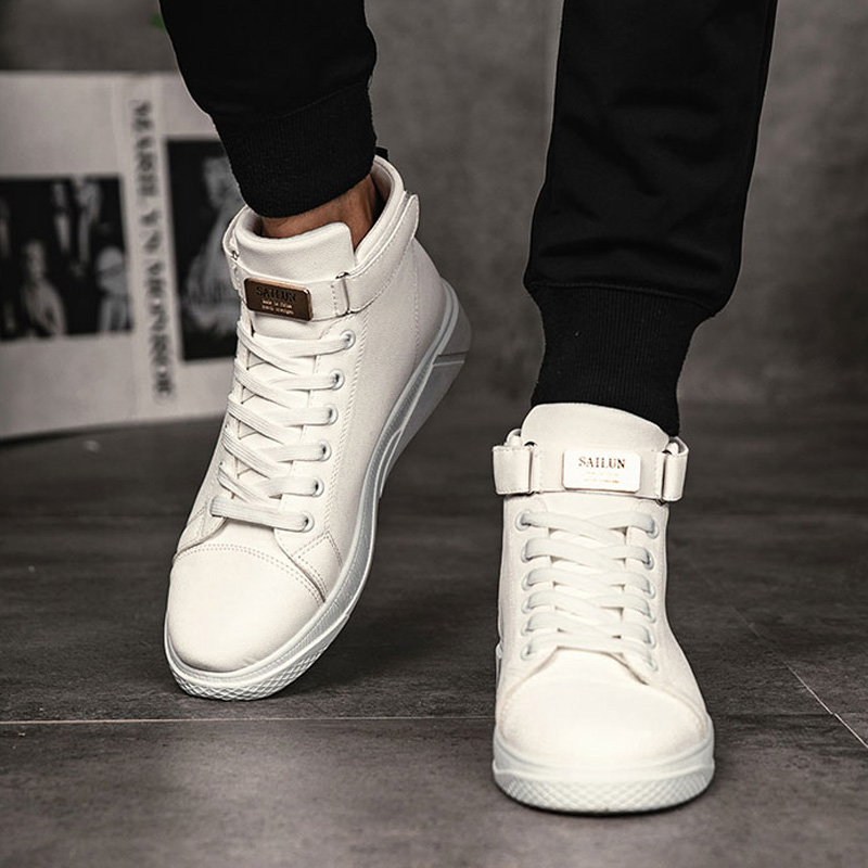 Men's Vulcanized Shoes Slip-on High Top Sneakers Lace-up Casual Shoes Men Canvas Shoes For Men Sneakers Leather Tenis Masculino