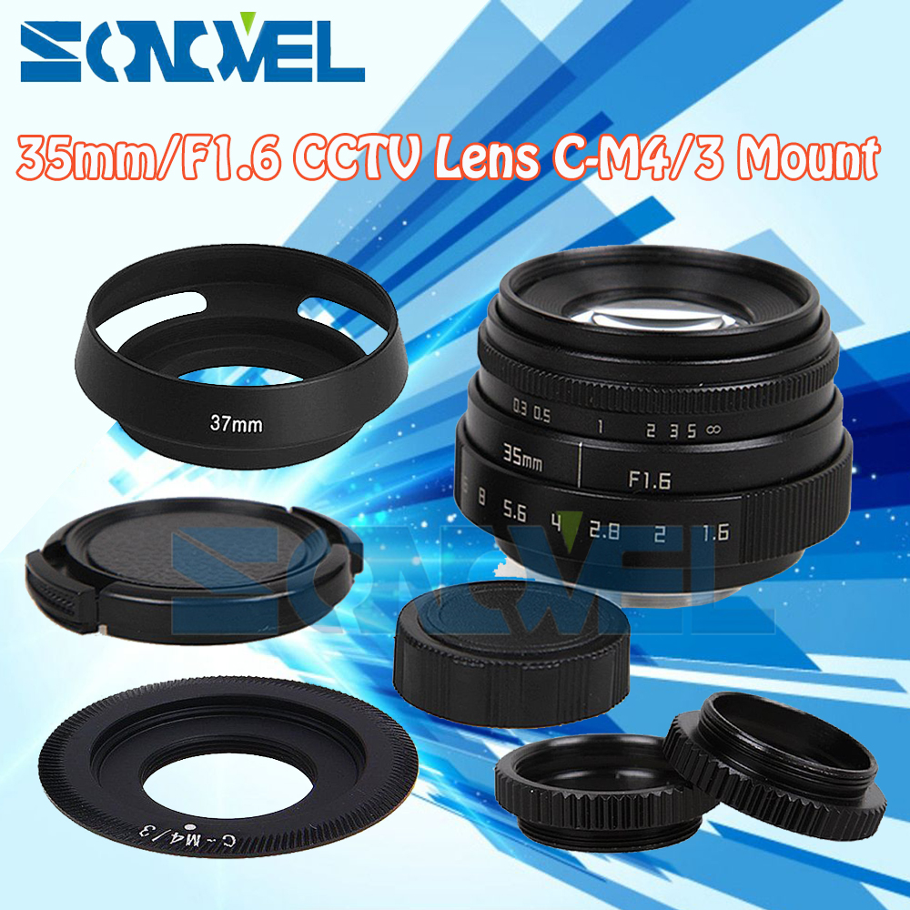 Fujian 35mm f1.6 cctv objektiv c-mount + haube zu olympus panasonic micro...