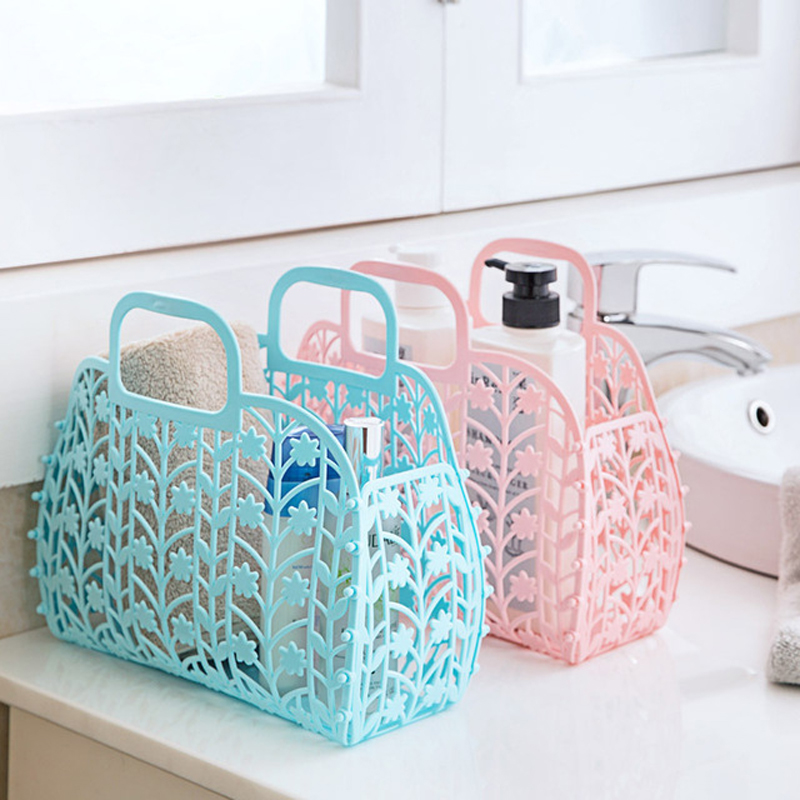 2017 New folding Storage Basket Colored Fashion Hollow Plastic Portable  Kitchen Bathroom Bath Basket Toiletries  3050. Online Buy Wholesale colored plastic baskets from China colored