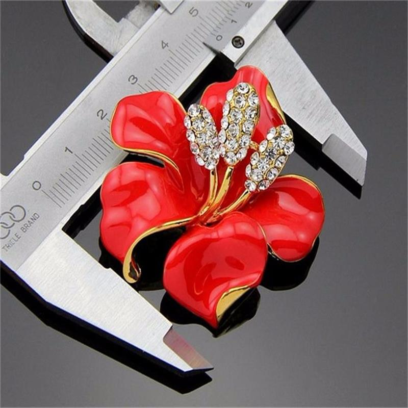 Meajoe Trendy Rhinestone Crystal Lily Flower Broches Rose Red Five - Bisutería - foto 5