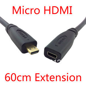 HDMI 1 4 D Type Micro HDMI Male to Micro HDMI Female M to F Extension Cable 60cm