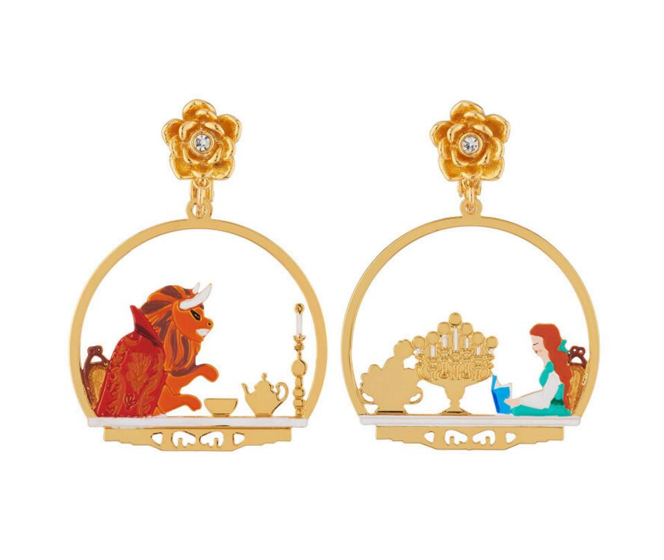 2019 New Handmade Enamel Glaze Beauty With The Beast Rose Candlelight Dinner Scene Personality Earrings