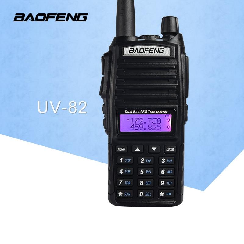 Gratis frakt Walkie talkie BaoFeng UV-82 Dual-Band 136-174 / 400-520 MHz FM-skinka Tvåvägs Radio Transceiver Baofeng 82 CB-radio