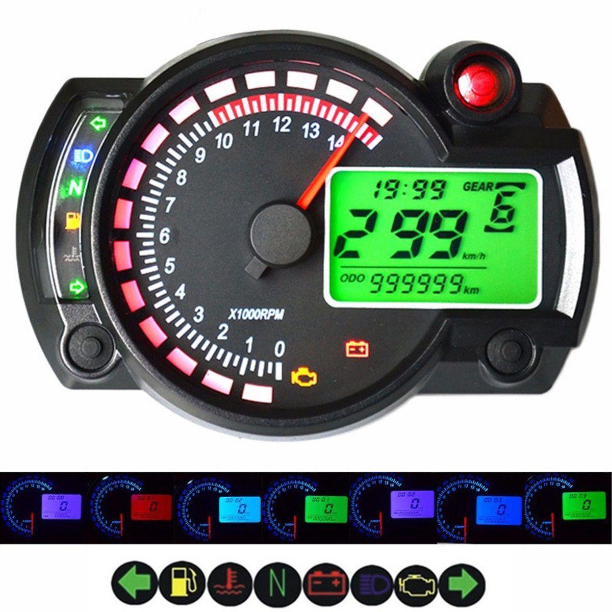 7 Color LED Motorcycle RX2N ATV LCD Digital Speedometer Tachometer Meter 15000rpm