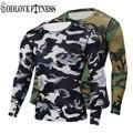 Nuevo de Alta Calidad de Camuflaje Militar de Compresión Camiseta Medias de Fitness Hombres de Secado rápido Camo de Manga Larga Camisetas Camisas de Crossfit