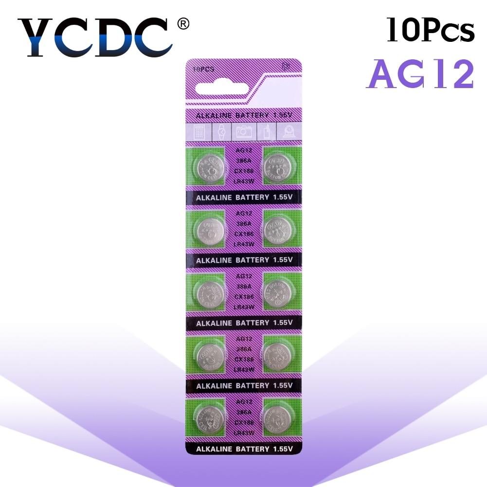 10pcs/pack AG12 LR43 386 Button Batteries SR43 186 SR1142 LR1142 Cell Coin Alkaline Battery 1.55V V12GA For Watch Toys Remote