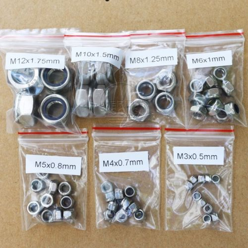 52Pcs Stainless Steel M3 M4 M5 M6 M8 <font><b>M10</b></font> M12 <font><b>Nylon</b></font> Lock Hex Nuts Assortment Kit image