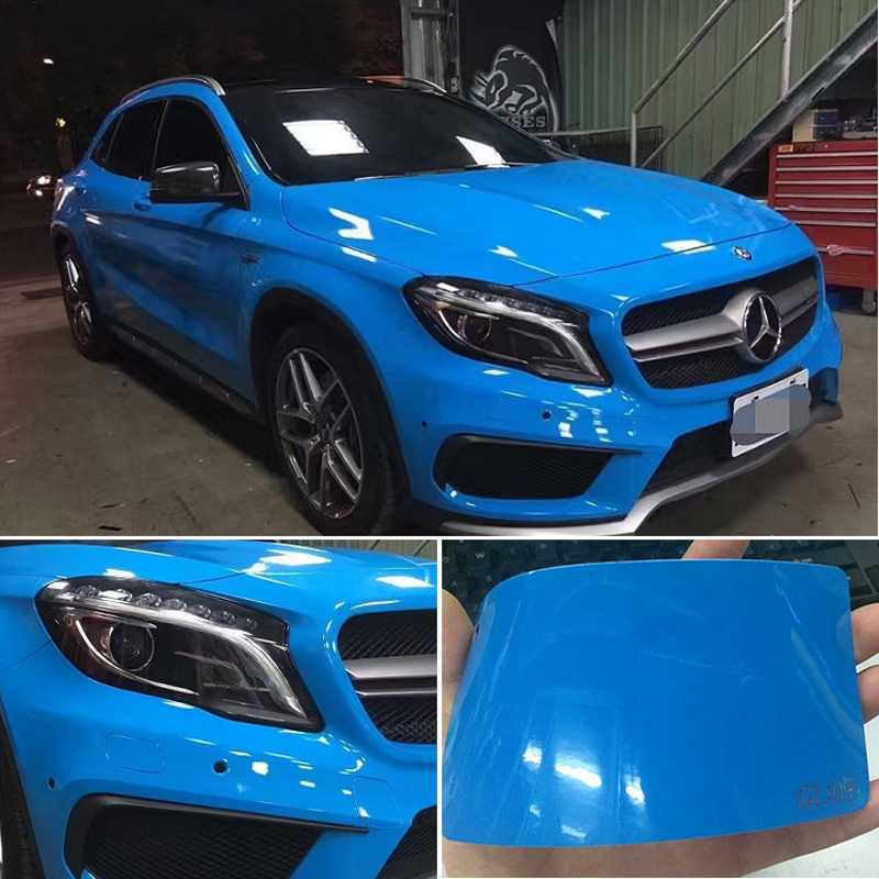 Ultra Glossy Blue Vinyl Wrap 3 Layers High Gloss Blue Shiny Car Wrap Film Graphics With Air Free Size:1.52*20M/Roll