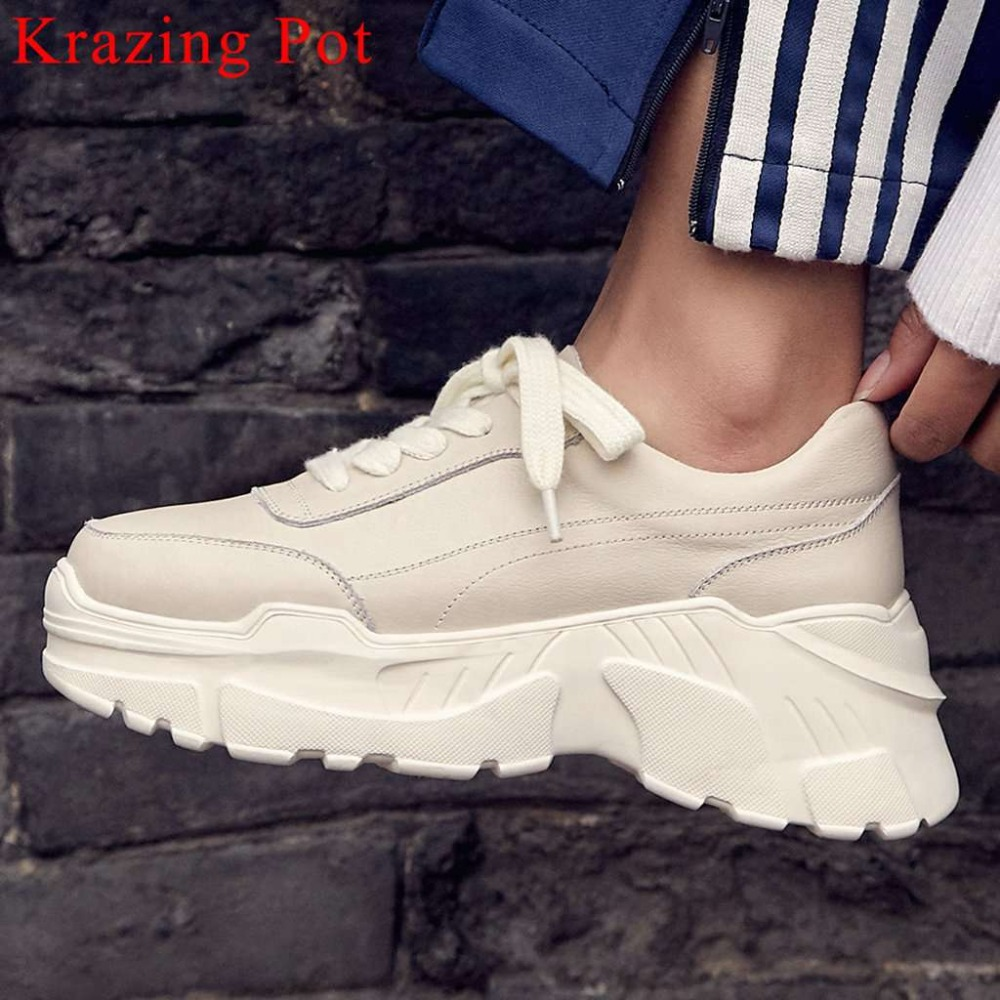 Krazing Pot woman brand casual wear sneakers genuine leather lace up concise style round toe Spring