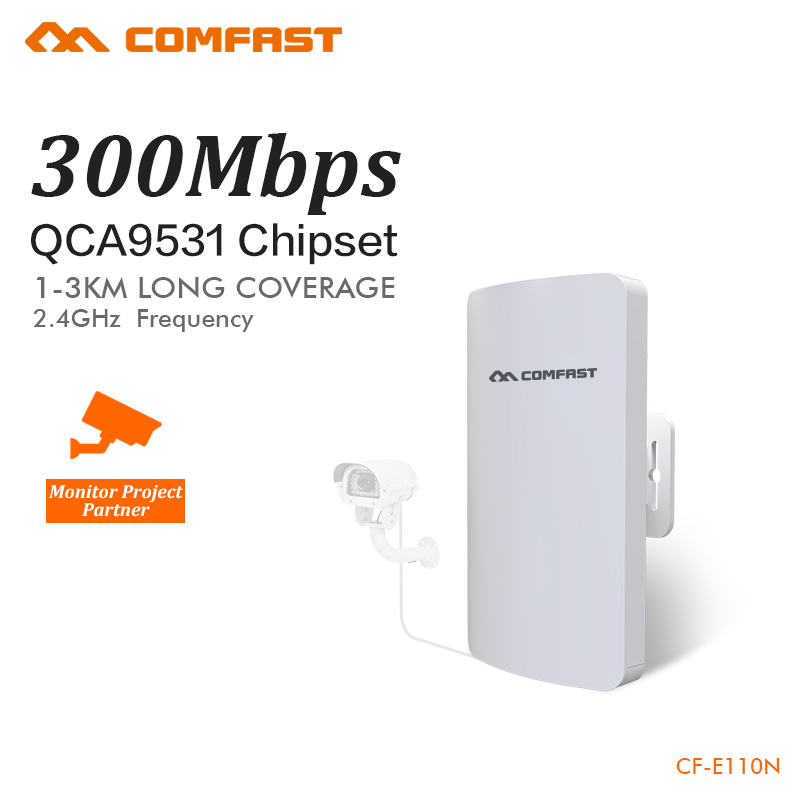 COMFAST mini wireless bridge 2.4ghz 300mbps outdoor CPE wifi router for ip camera project 1-2km long range amplifier CF-E110N comfast wireless bridge 5 8ghz 300mbps mini outdoor cpe wifi router for ip camera project 1 2km long range amplifier cf e120a