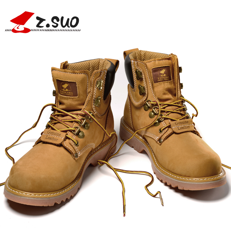 Z.Suo Brand Lace-up Men Boots 2018 New Spring Genuine Leather Ankle Boots Men Tactical Boots Man Botas Hombre Size:39-44 Yellow цена