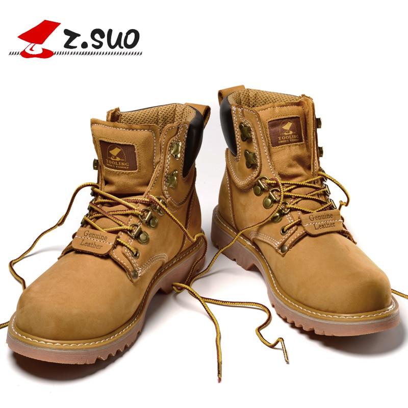 Zsuo 브랜드 레이스 업 남자 부츠 2019 새로운 봄 정품 가죽 발목 부츠 남자 전술 부츠 남자 botas hombre 크기: 39 44 옐로우-에서기본 부츠부터 신발 의  그룹 1