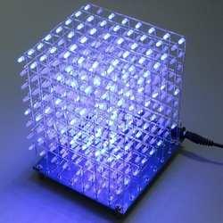 Бесплатная доставка заводская цена Акция! 8x8x8 Светодиодный Куб 3D свет квадратный синий светодиодный электронный DIY Набор закаленная