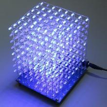 Бесплатная доставка по заводской цене! 8x8x8 LED Cube светильник Square Blue LED Electronic DIY Kit закаленная способность