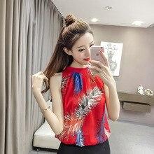 Wholesale 2018 new women's loose sleeves, sleeveless, chiffon blouses, women's fashion blends, bottomless shirts.