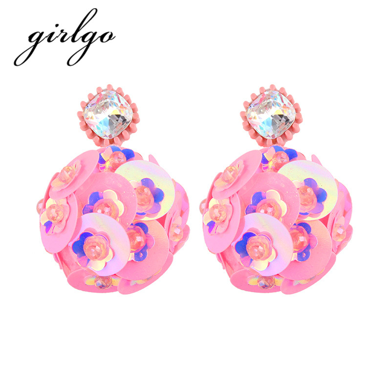 Girlgo Boho Cute Pinky Color Sequins Balls Drop Dangle Earrings For Women Charm Bijoux Maxi Statement Earrings Fashion Jewelry