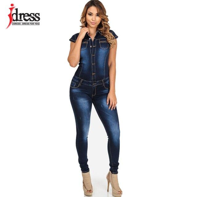 011971138758 € 17.57 20% de DESCUENTO Vestido S XL talla grande moda Denim Mujer  Pantalones largos Mono manga corta Sexy monos mujer mono Jeans para mujer  en ...