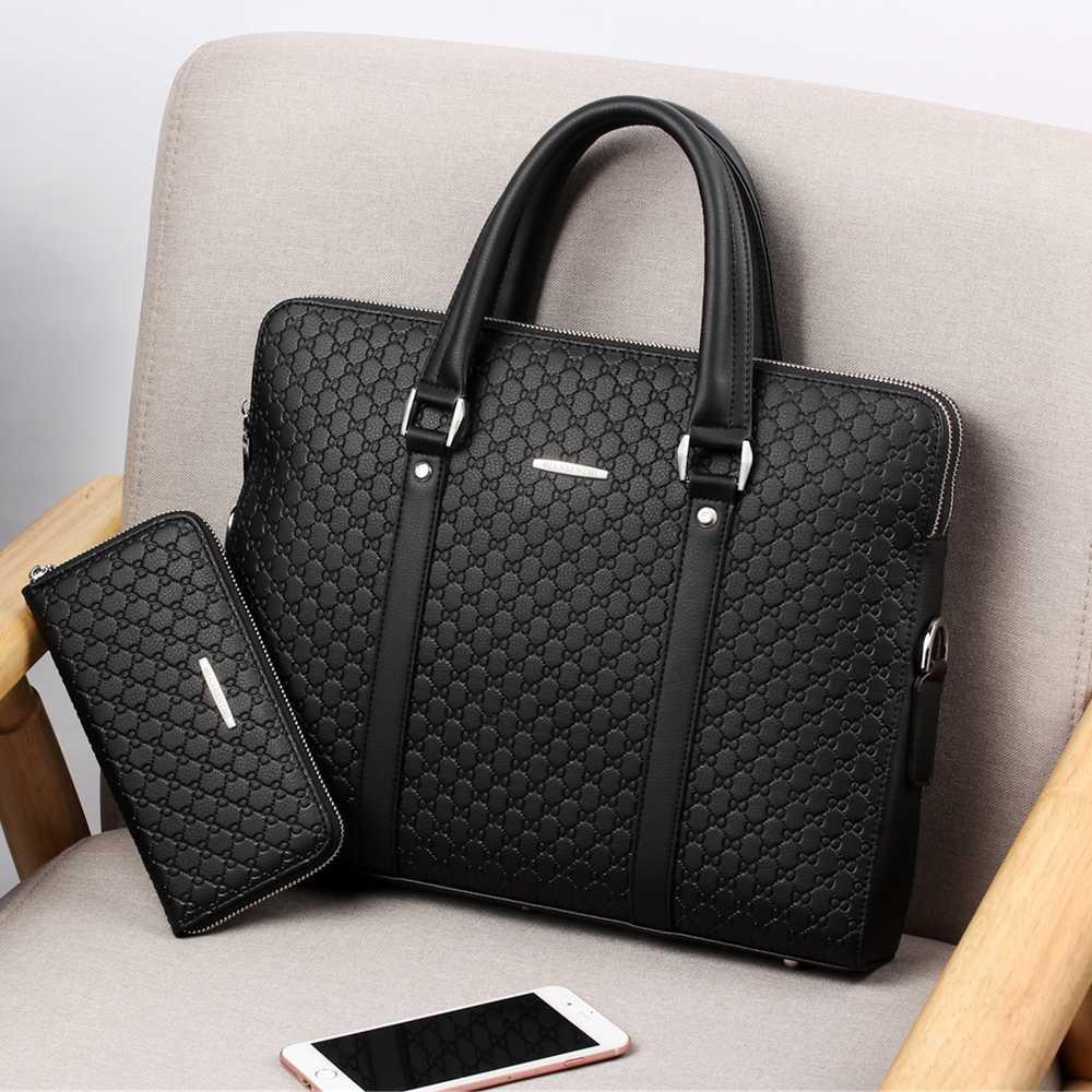 Новинка, двухслойный мужской кожаный деловой портфель, повседневная мужская сумка на плечо, сумка мессенджер, мужские сумки для ноутбуков, мужские дорожные сумки