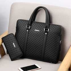 Neue Doppel Schichten männer Leder Business Aktentasche Casual Mann Schulter Tasche Messenger Bag Männliche Laptops Handtaschen Männer Reisetaschen