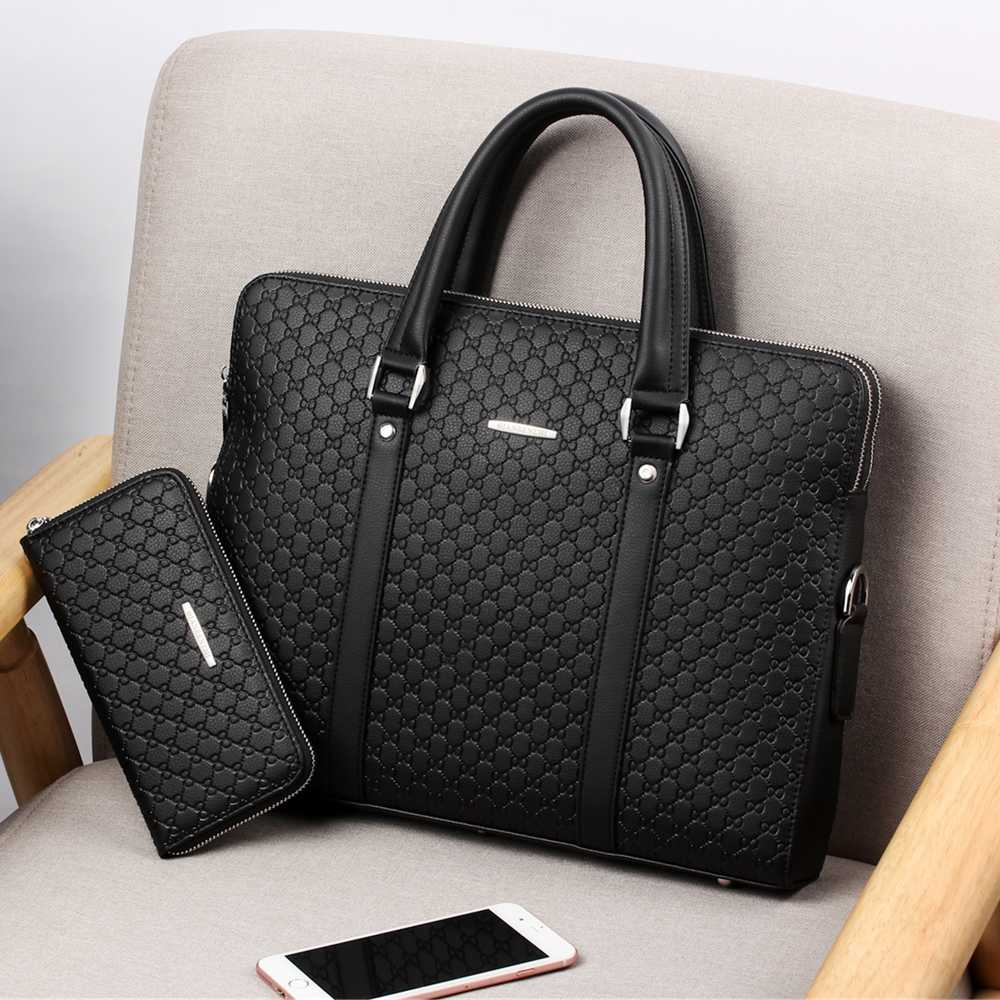 Business Briefcase Handbags Messenger-Bag Laptops Male Men's Casual New Man Double-Layers title=