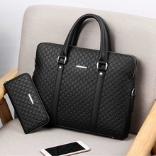 New Double Layers Men's Leather Business Briefcase Casual Man Shoulder Bag Messenger Bag Male Laptops Handbags Men Travel Bags delin 135 leather men s business casual handbags men s business travel briefcase leather shoulder bag