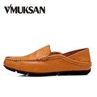 VMUKSAN Men Casual Shoes Big Size 38 46 Split Leather Men Shoes Breathable Summer Mens Moccasins