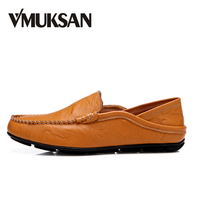 VMUKSAN Hot Sale Shoes Men Big Size 38-46 Men's Leather Casual Shoes 2018 Spring Brand New Man Loafers Slip On Moccasins pl us size 38 47 handmade genuine leather mens shoes casual men loafers fashion breathable driving shoes slip on moccasins