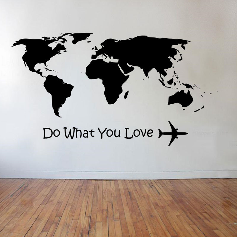 Wall Stickers Do What You Love Airplane Wall Stickers World Map Home Decor Living Room DIY Vinyl Wall Decals Removable
