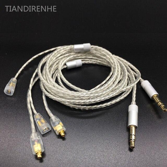 כבל שדרוג רך עבור Sennheets ie80 בציפוי כסף DIY עבור Shure SE535 SE215 אוזניות fone de אוזניות ouvido