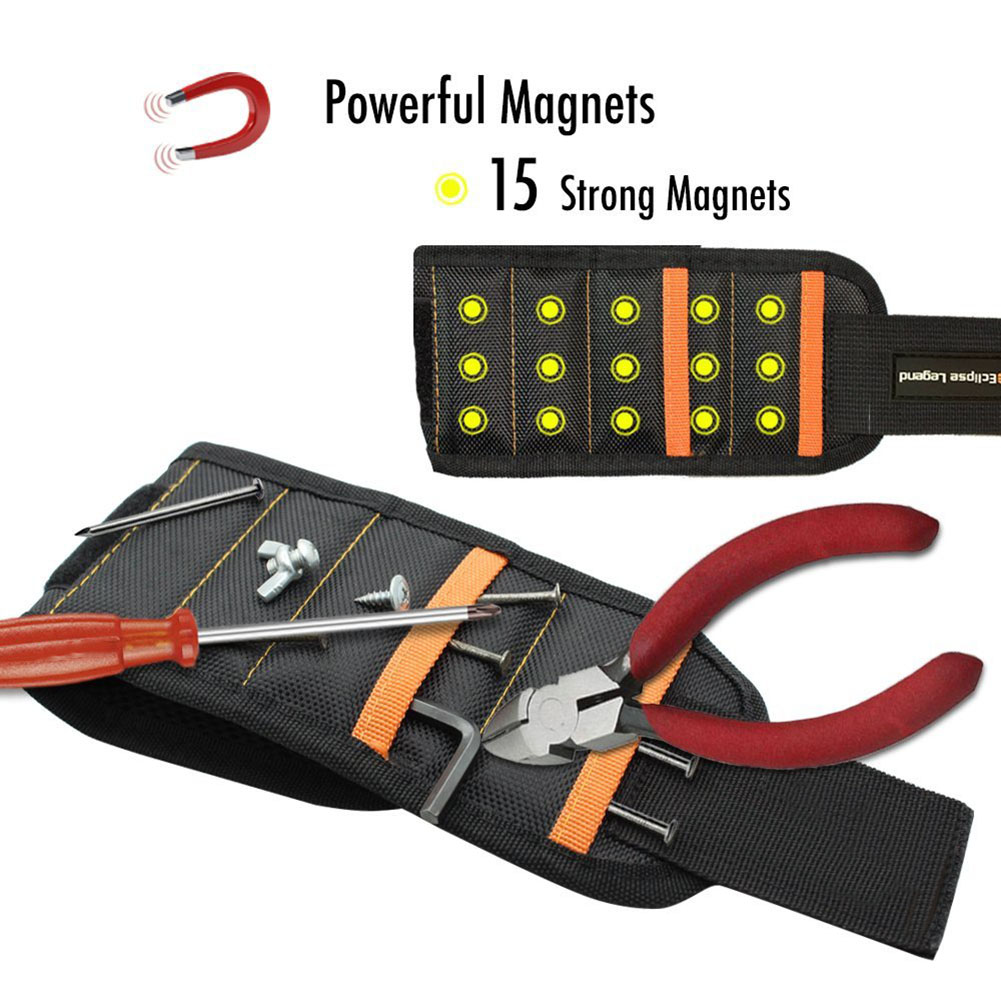 Magnetic Wristband With 10/15pcs Strong Magnets Screw Drill Bits Holder Electrician Tool Belt --M25