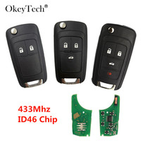 Okeytech 433Mhz ID46 Chip Flip Folding Auto Car Remote Key For OPEL/VAUXHALL For Astra J Corsa E Insignia Zafira C 2009 2016|Car Key| |  -