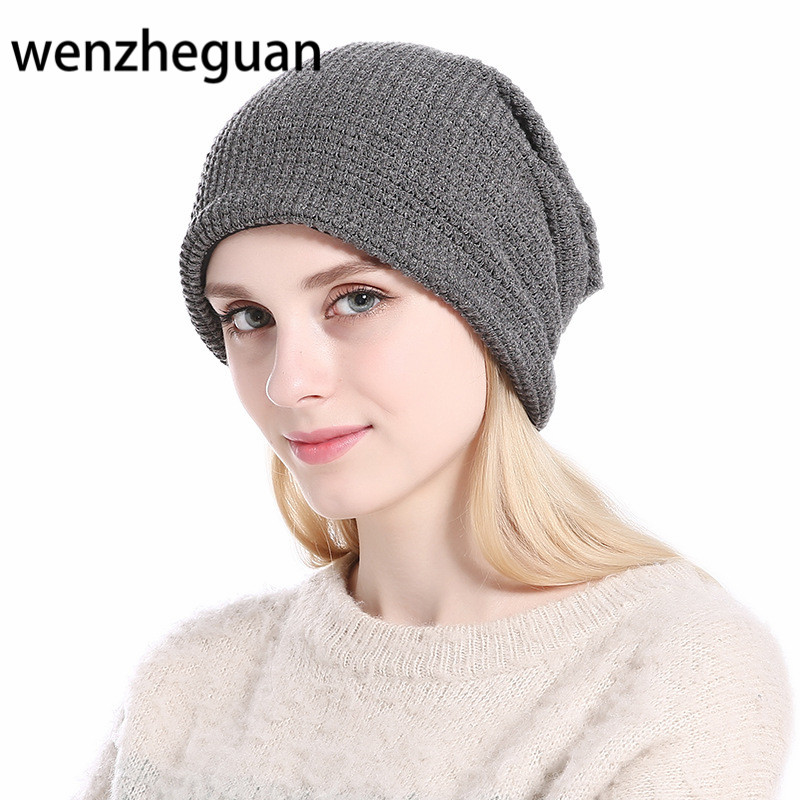 Hot Sale Women Winter Autumn Knitted Wool Beanies Cap Hat Man&Women Casual Solid Good Quality Hat Female Knitted Cap Hat skullies hot sale female tide leather braids knitted cap autumn and winter women s curling ear warmers headgear 1866784