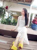 мода одного-сократить сексуальные в 0983 - ожерелье перспектива длинное платье цельный платье