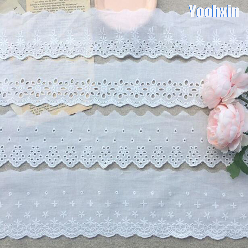 Luxury White Cotton Embroidery Flower Lace Collar Fabric Sewing Applique DIY Ribbon Trim Bridal Dubai Guipure Cloth Dress Decor