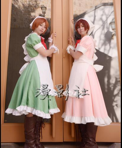 Free post Anime Axis Power Hetalia cosplay Feliciano Vargas Halloween Japanese Harajuku pink green color Maid costumes cartoon