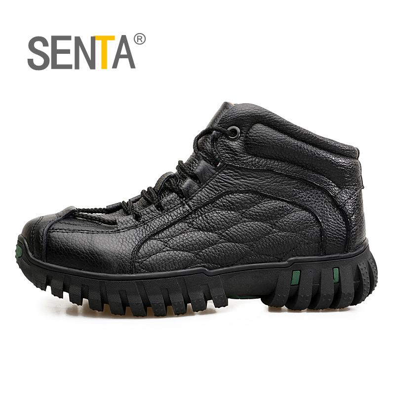 SENTA Men Hiking Shoes For Mountain,Shoes For Camping,Climbing Imported Leather Breathable Outdoor Sports Tactical Men Boots