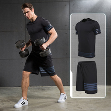 2 pieces Running Sets Men's Sportswear Compression Tights For Fitness Running Basketball Soccer Jersey Gym Clothing jersey