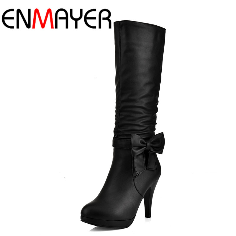 ФОТО ENMAYER Bowties Charms Shoes Woman Zippers High Heels Mid-calf Boots for Women 4 Colors Black Shoes Spring&Autumn Fashion Boots