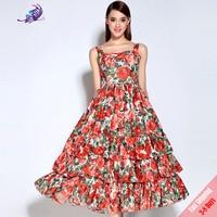 Newest Runway Designer Dress 2017 Summer Fashion Red Rose Print Ball Gown Sleeveless Tank Dress High