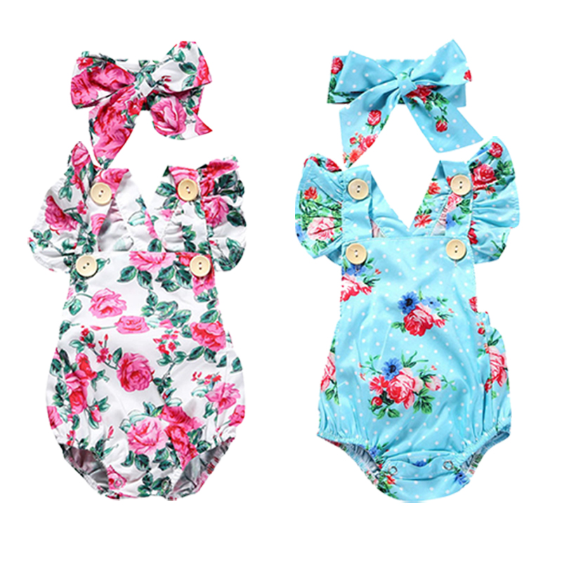 2018 Summer Baby Girls Romper 2pcs Set Baby Girl Clothes with Headband Floral Sleeveless Jumpsuit Newborn Toddler Bebe Outfits
