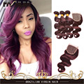 Burgundy Brazilian Hair Weave Grade 7A Brazillian Virgin Hair Body Wave 3 Bundles Red 99J Human Hair Extensions With 4x4 Closure